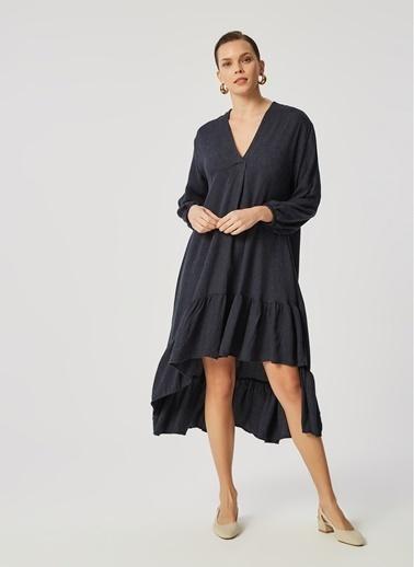 Monamoda Monamoda Flanel Dokulu Eteği Volanlı Kadın Elbise Lacivert